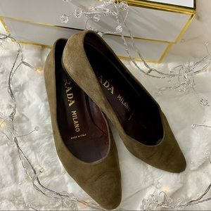 PRADA Flats Pointed Toe Olive Green Sze 36 1/2 6.5